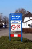 City entrance sign of the town of Rijswijk. Rijswijk, The Netherlands - February 17, 2018: Dutch city entrance sign of the town of Rijswijk by the side of the Royalty Free Stock Image