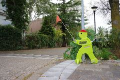 Plastic man called Victor Veilig in the Netherlands. Rijswijk, the Netherlands. September 2018. Plastic figure called Victor Veilig, urging people to drive royalty free stock photography