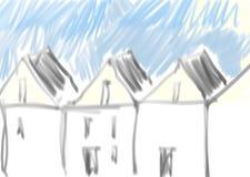 Rijtjeshuizen stock illustratie