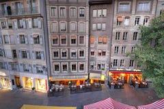 Rijtjeshuizen in Genève, Zwitserland Royalty-vrije Stock Afbeeldingen