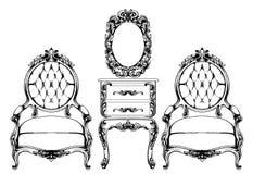 Rik barock f?t?ljvektor Imperialistiskt stilmöblemang Tappningdesigner royaltyfri illustrationer