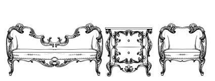 Rik barock f?t?ljvektor Imperialistiskt stilmöblemang Tappningdesigner vektor illustrationer