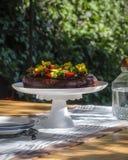 Rik chokladkaka med jordgubbar och ätliga blommor i en trädgård - sommarlynne Royaltyfri Bild