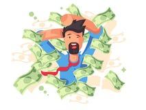 Rik le man som badar i pengar royaltyfri illustrationer