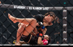 "Rika Ishige ""Tiny Doll"" of Thailand and Audreylaura Boniface of Malaysia in One Championship. Stock Photo"