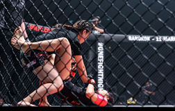 "Rika Ishige ""Tiny Doll"" of Thailand and Audreylaura Boniface of Malaysia in One Championship. Stock Photos"