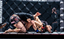 "Rika Ishige ""Tiny Doll"" of Thailand and Audreylaura Boniface of Malaysia in One Championship. Stock Images"