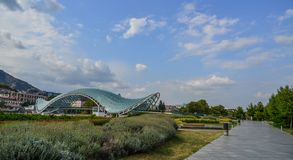 Rike Park with the Bridge of Peace in Tbilisi stock images