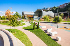 The Rike Park. The Theater of Music and Drama, and Exhibition Hall are the Modern Tbilisi, located in Rike Park, capital of Georgia stock image