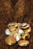 Guld- Pebblebegrundande av rikedomen Arkivfoton