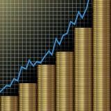 rikedom för investering för tillväxt för diagrammyntguld Royaltyfri Bild