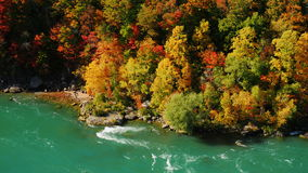Rikedomen av färger av höstskogen och Niagaraet River Runt om Niagara Falls Sikt från Förenta staterna, a stock video