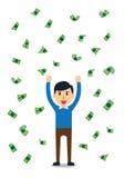 Rikeman som är lycklig i ett regn av pengar Arkivbilder