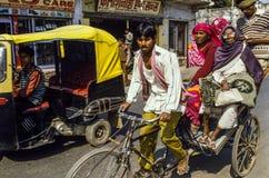 Rikscha-Fahrer Delhi India Stockfotografie