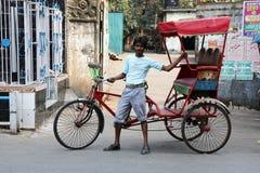 Rikschafahrer in Kolkata Stockbilder