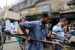 Rikschafahrer in Kolkata Stockfotografie
