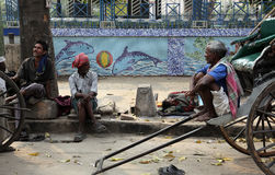 Rikschafahrer in Kolkata Lizenzfreie Stockfotografie
