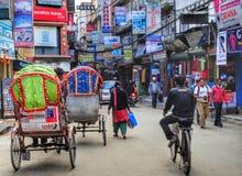 Rikschas in Kathmandu Lizenzfreies Stockbild