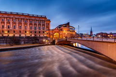 Riksdag Building and Riksgatan Bridge in the Evening Stock Photo