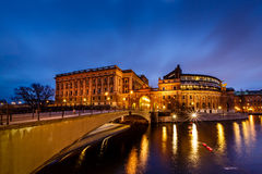 Riksdag Building and Riksgatan Bridge in the Evening Stock Image