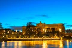 Riksdag-Gebäude und Norrbro-Brücke Stockholm, Schweden Stockfotografie