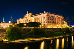 Riksdagshuset, The Parliament House at night, in Galma Stan, Sto Stock Photo