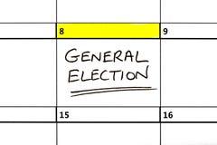 Riksdagsvaldatum som markeras på en kalender Royaltyfri Foto