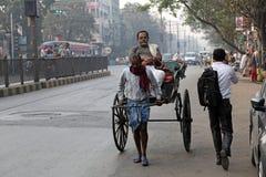 Riksjabestuurder in Kolkata Royalty-vrije Stock Foto