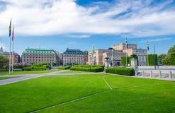 Riksplan sur l'île de Sodermalm, opéra suédois royal, Stockholm, commutateur photo stock