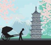 riksza chiński ilustracja wektor