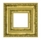 Rikt dekorerad guld- fyrkantig ram royaltyfria bilder