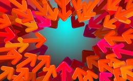 Riktade den start-up designvektorn för bakgrund, röda pilar till mitt Variant- illustration för pillängd i fot räknat i eps10 stock illustrationer