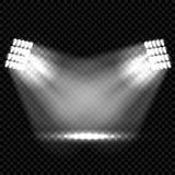 Riktar uppmärksamheten på ljusa effekter för plats Etappljusstrålkastare Arkivfoto