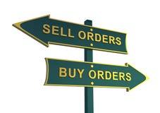 Riktning av försäljnings- och köpriktningen Köp beställningar Försäljningsbeställning Royaltyfria Foton