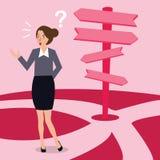 Riktning för beslut för danande för affärskvinna förvirrad över den primaa vägen vektor illustrationer