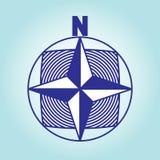 Riktning på sidorna av den norr riktningen för värld och för pil på ett ljus - blå bakgrund bakgrunds- och färgbroschyr Arkivbild