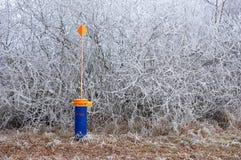 Riktningsfärgkolonn i frostigt vinterväder Royaltyfria Foton