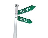 Riktningstecken av Main Street och Wall Street Arkivbilder