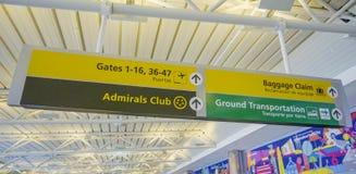 Riktningstecken på flygplatsen för portar och bagagereklamationen DALLAS - TEXAS - APRIL 10, 2017 arkivfoton