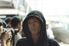 Riku `局外人`涩谷MUTTAHIDA MAJLIS-E-AMAL次最轻量级职业拳击手一冠军战斗机 库存照片