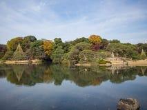 Rikugien trädgård Berömt ställe som håller ögonen på höstfärger i Tokyo, Japan arkivfoto