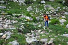 Rila山的游人 免版税图库摄影