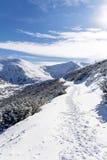 从Rila山,保加利亚的美好的冬天山风景 图库摄影