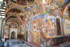 RILA, BULGARIA – JULY 23, 2015: Frescoes at Rila monastery. Frescoes at Rila monastery in Bulgaria Royalty Free Stock Photo