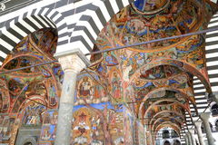 RILA, BULGARIA – JULY 23, 2015: Frescoes at Rila monastery. Frescoes at Rila monastery in Bulgaria Royalty Free Stock Photography