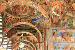Rila-Kloster, Bulgarien - Säulenhallefreskos Stockfoto