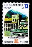 Rila kloster (det 10th århundradet), Chreljo torn (1335), skyddat M Royaltyfria Bilder