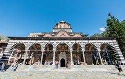 Rila kloster, huvudsaklig kyrklig byggnad under berömmen av 15th Augusti Arkivbilder