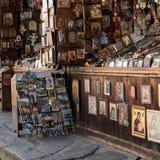 Rila kloster, till salu religiösa souvenir för Bulgarien royaltyfri foto