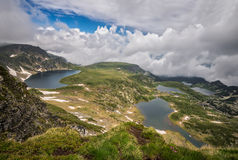Rila lakes. Magnificent panoramic view of five of the Seven Rila Lakes in spring time royalty free stock photography